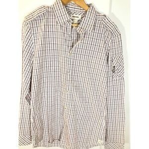 Diesel Checkered Plaid Button Up Shirt White Red